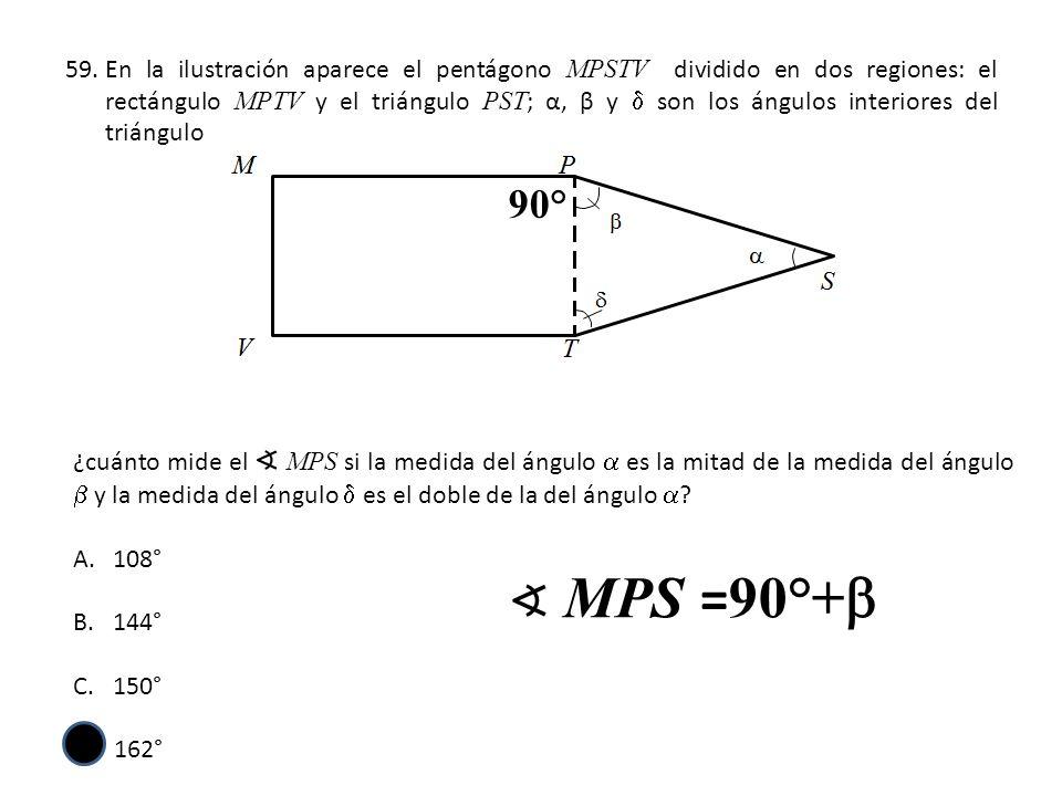 En la ilustración aparece el pentágono MPSTV dividido en dos regiones: el rectángulo MPTV y el triángulo PST; α, β y d son los ángulos interiores del triángulo