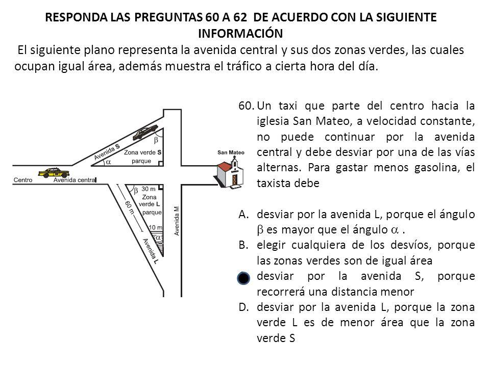 RESPONDA LAS PREGUNTAS 60 A 62 DE ACUERDO CON LA SIGUIENTE INFORMACIÓN