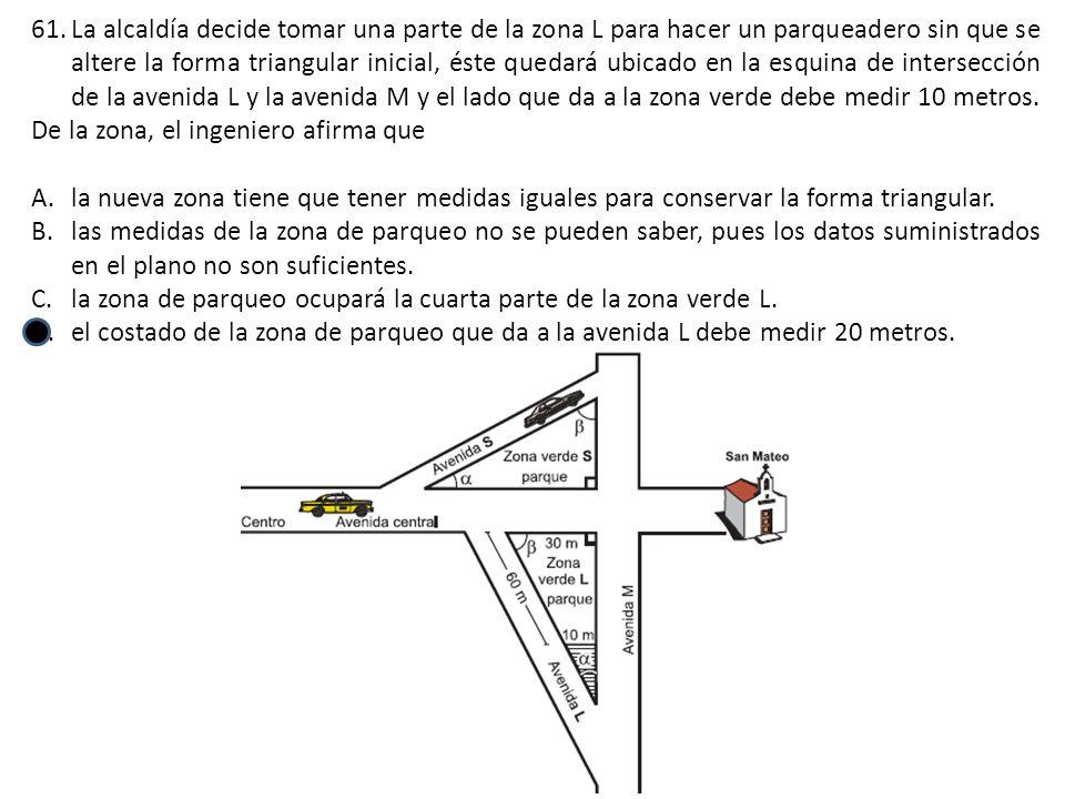 La alcaldía decide tomar una parte de la zona L para hacer un parqueadero sin que se altere la forma triangular inicial, éste quedará ubicado en la esquina de intersección de la avenida L y la avenida M y el lado que da a la zona verde debe medir 10 metros.