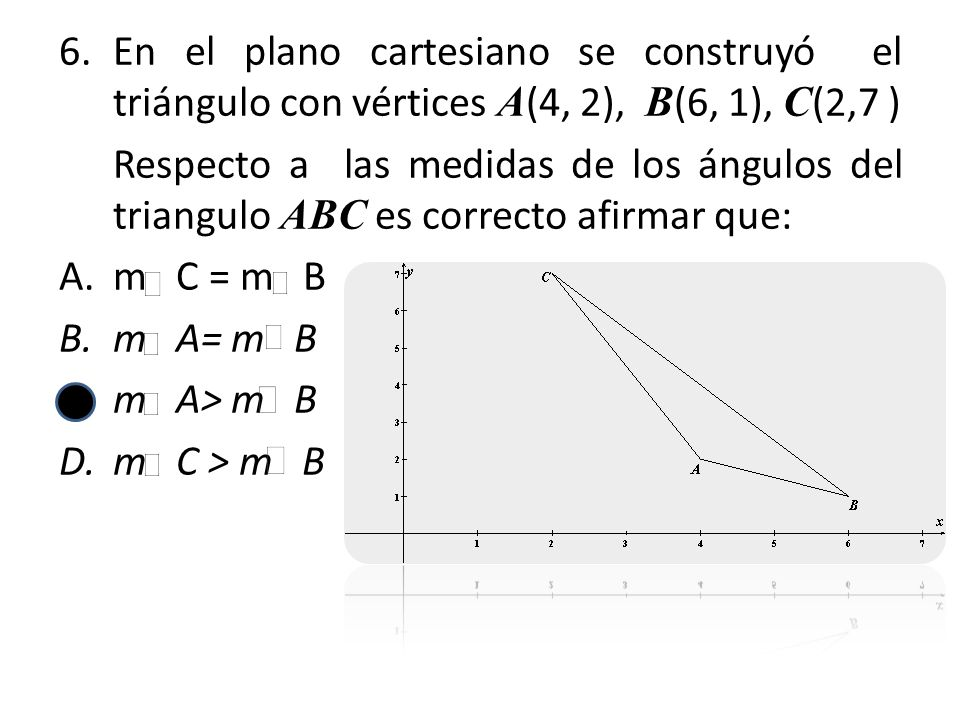 En el plano cartesiano se construyó el triángulo con vértices A(4, 2), B(6, 1), C(2,7 )