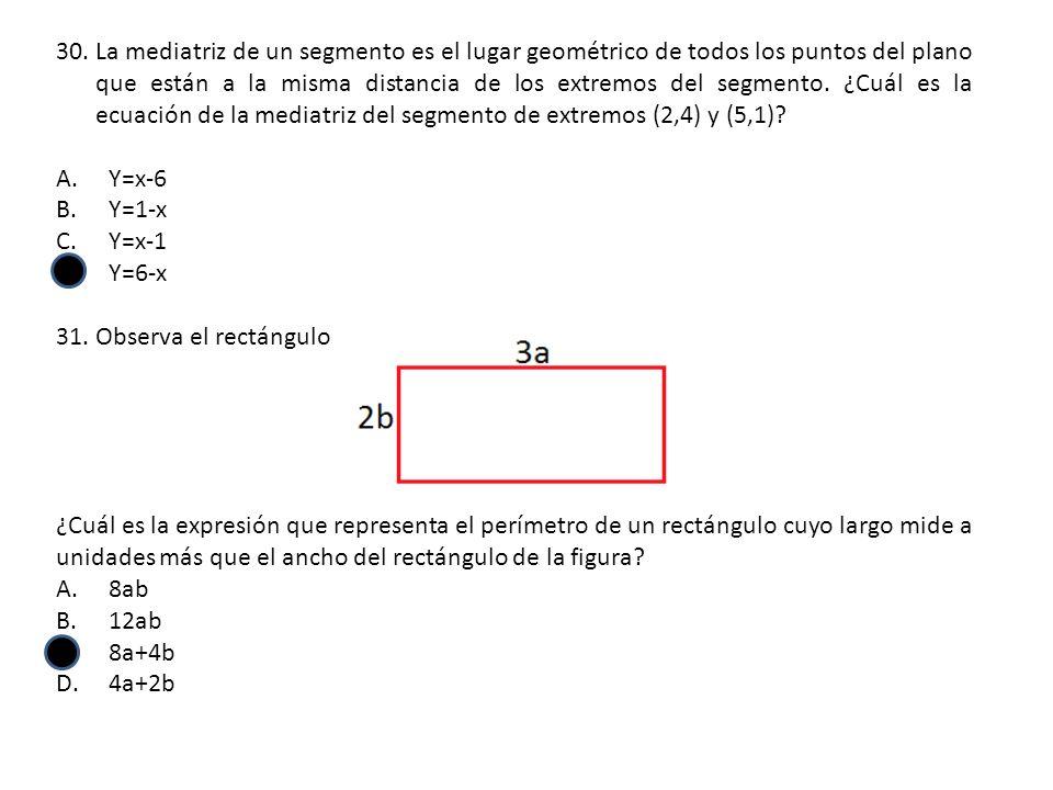 La mediatriz de un segmento es el lugar geométrico de todos los puntos del plano que están a la misma distancia de los extremos del segmento. ¿Cuál es la ecuación de la mediatriz del segmento de extremos (2,4) y (5,1)