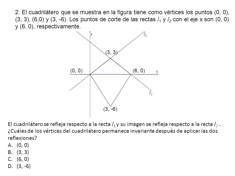 2. El cuadrilátero que se muestra en la figura tiene como vértices los puntos (0, 0), (3, 3), (6,0) y (3, -6). Los puntos de corte de las rectas l1 y l2 con el eje x son (0, 0) y (6, 0), respectivamente.