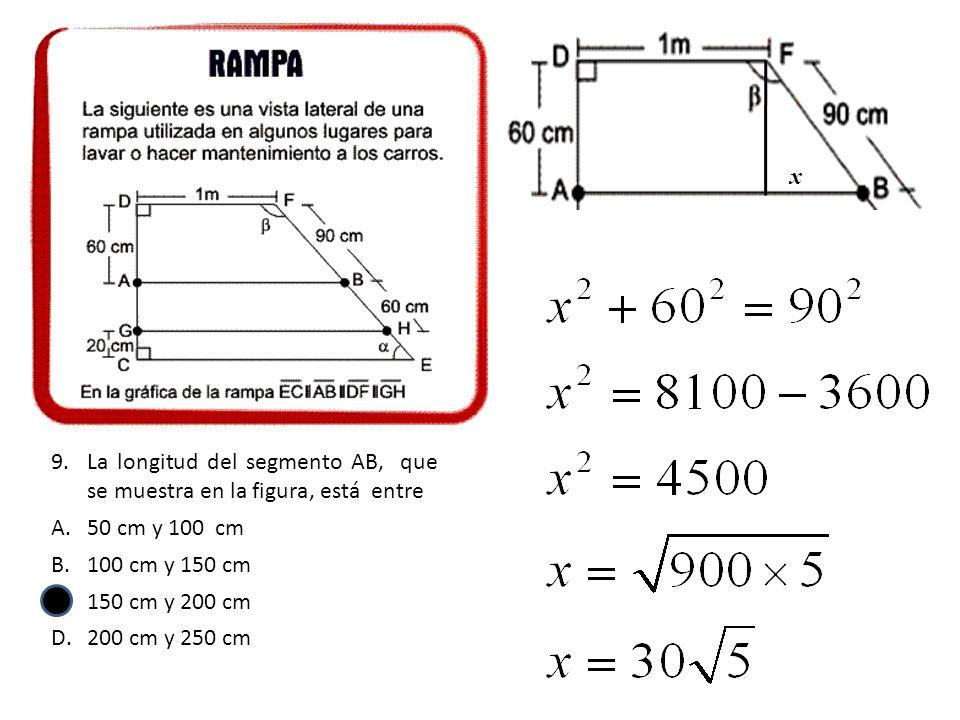 x La longitud del segmento AB, que se muestra en la figura, está entre. 50 cm y 100 cm. 100 cm y 150 cm.