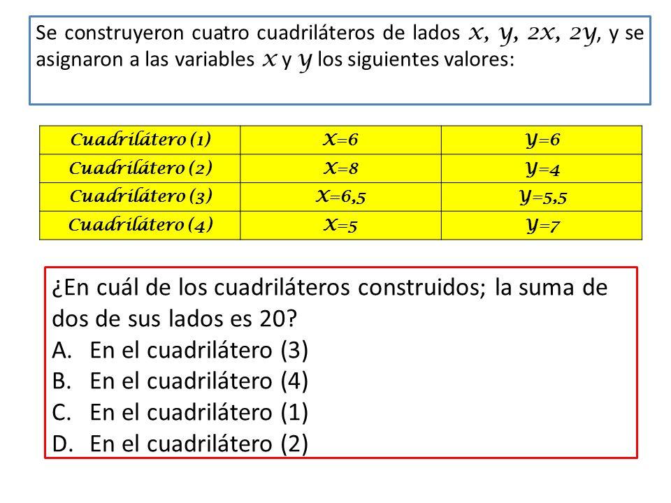 Se construyeron cuatro cuadriláteros de lados x, y, 2x, 2y, y se asignaron a las variables x y y los siguientes valores: