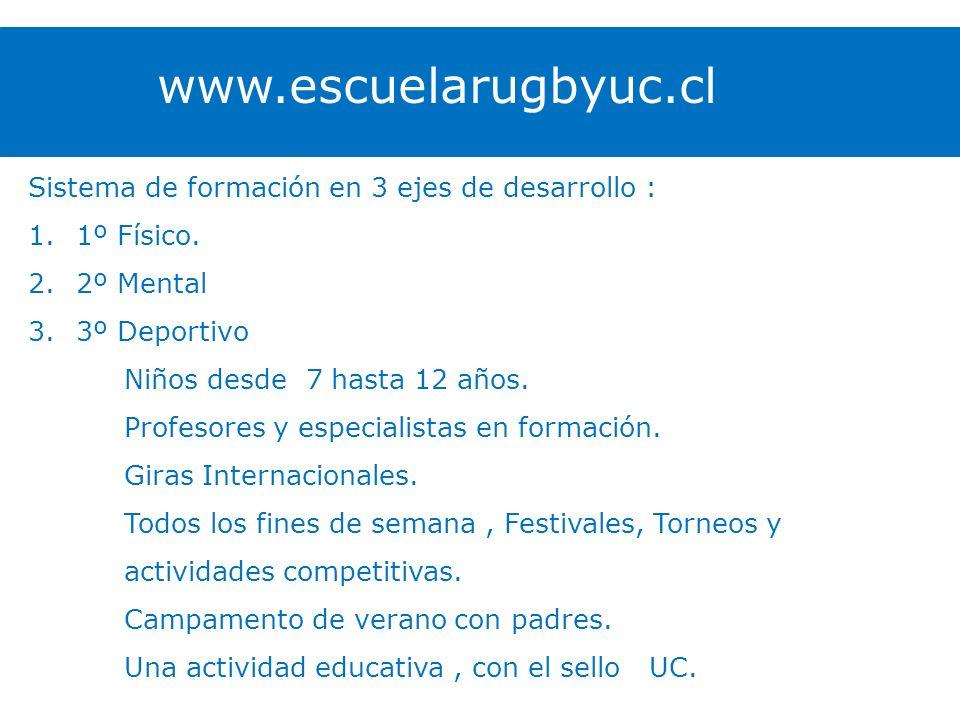 www.escuelarugbyuc.cl Sistema de formación en 3 ejes de desarrollo :