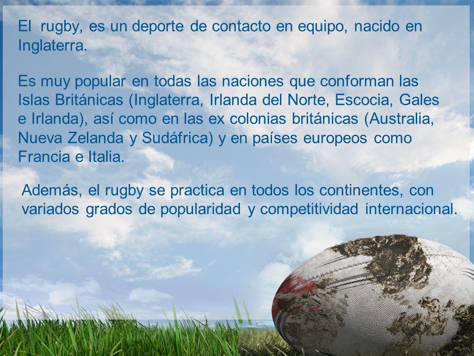 El rugby, es un deporte de contacto en equipo, nacido en Inglaterra.