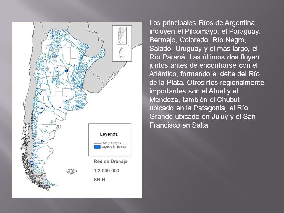 Los principales Ríos de Argentina incluyen el Pilcomayo, el Paraguay, Bermejo, Colorado, Río Negro, Salado, Uruguay y el más largo, el Río Paraná.
