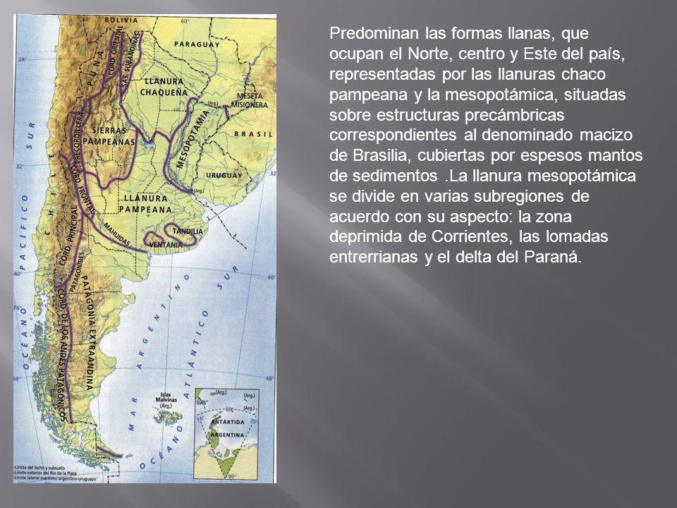 Predominan las formas llanas, que ocupan el Norte, centro y Este del país, representadas por las llanuras chaco pampeana y la mesopotámica, situadas sobre estructuras precámbricas correspondientes al denominado macizo de Brasilia, cubiertas por espesos mantos de sedimentos .La llanura mesopotámica se divide en varias subregiones de acuerdo con su aspecto: la zona deprimida de Corrientes, las lomadas entrerrianas y el delta del Paraná.
