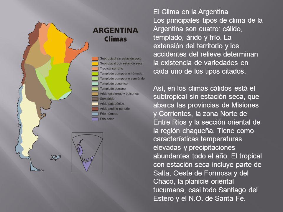 El Clima en la Argentina Los principales tipos de clima de la Argentina son cuatro: cálido, templado, árido y frío.