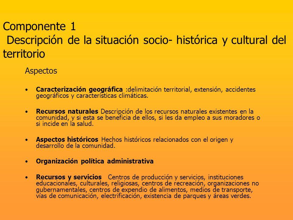 Componente 1 Descripción de la situación socio- histórica y cultural del territorio