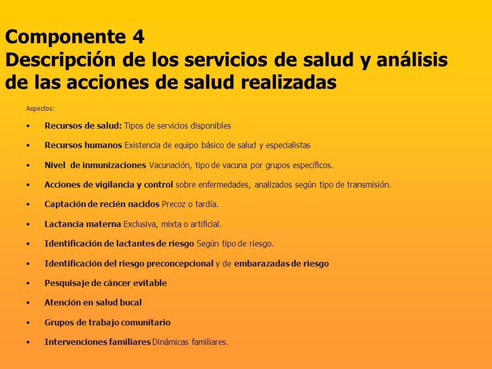 Componente 4 Descripción de los servicios de salud y análisis de las acciones de salud realizadas