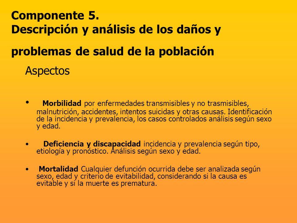 Componente 5. Descripción y análisis de los daños y problemas de salud de la población
