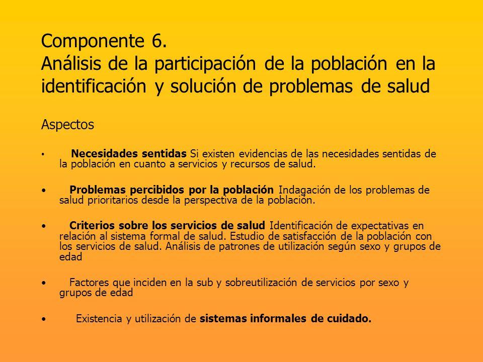 Componente 6. Análisis de la participación de la población en la identificación y solución de problemas de salud