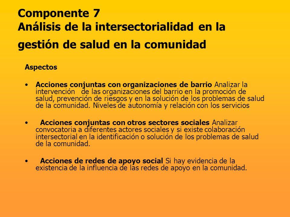 Componente 7 Análisis de la intersectorialidad en la gestión de salud en la comunidad