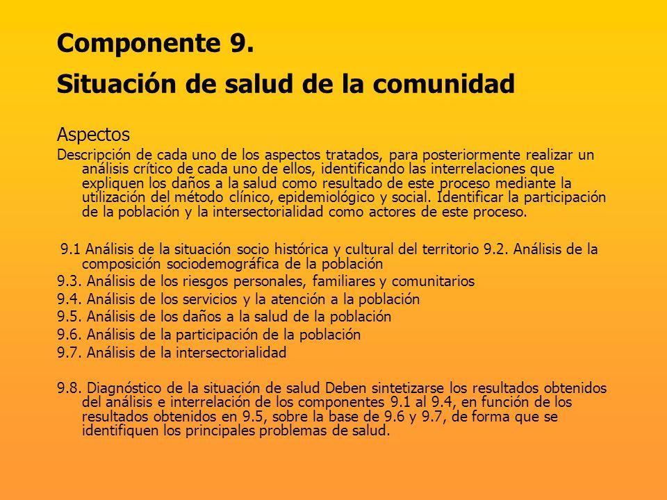 Componente 9. Situación de salud de la comunidad