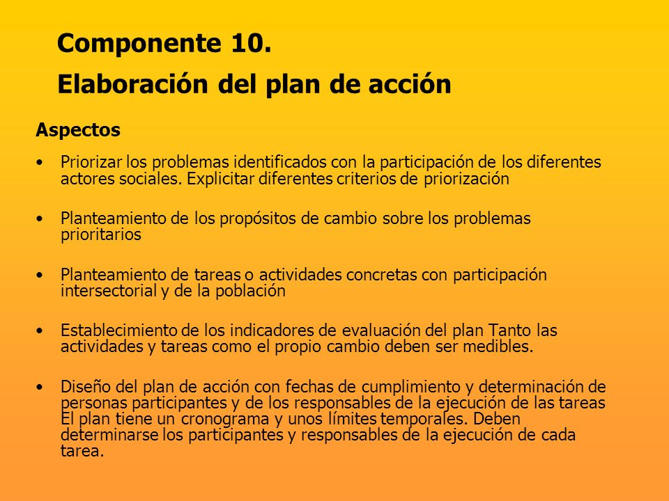 Componente 10. Elaboración del plan de acción