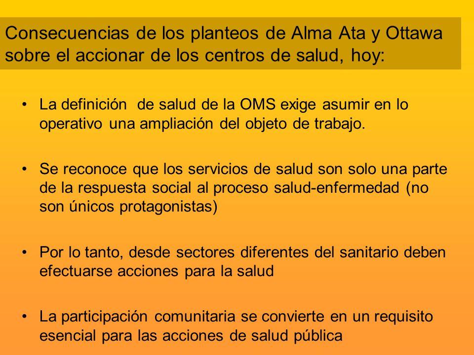 Consecuencias de los planteos de Alma Ata y Ottawa sobre el accionar de los centros de salud, hoy: