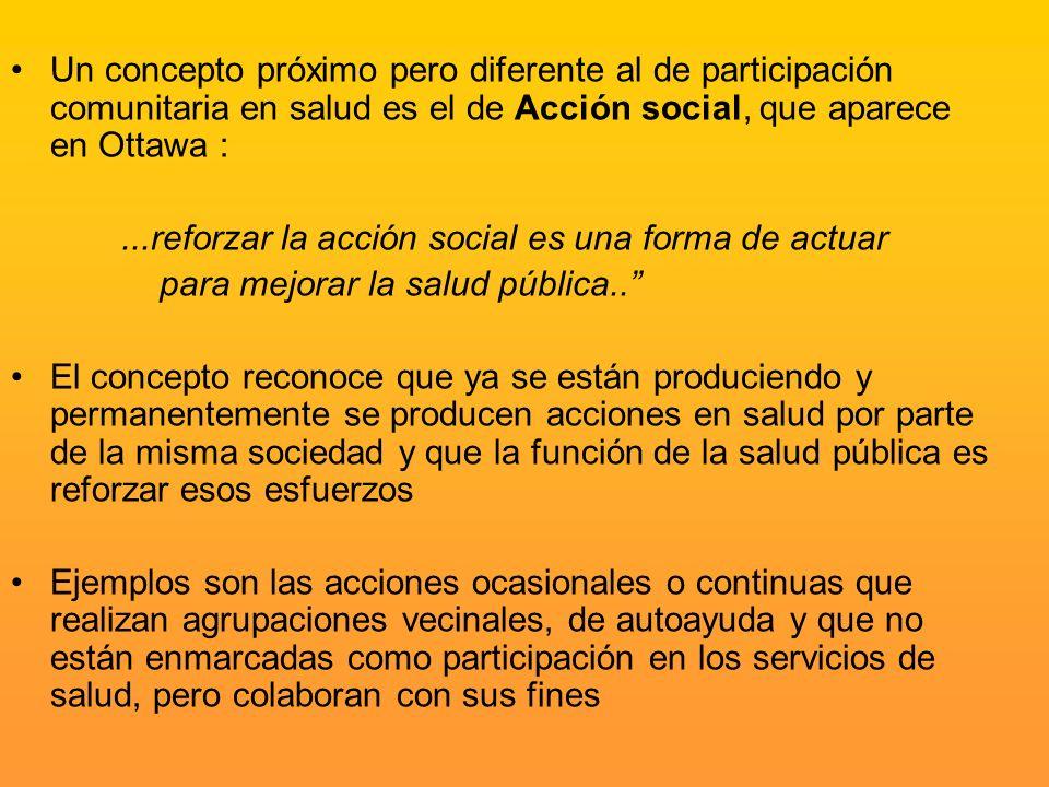Un concepto próximo pero diferente al de participación comunitaria en salud es el de Acción social, que aparece en Ottawa :