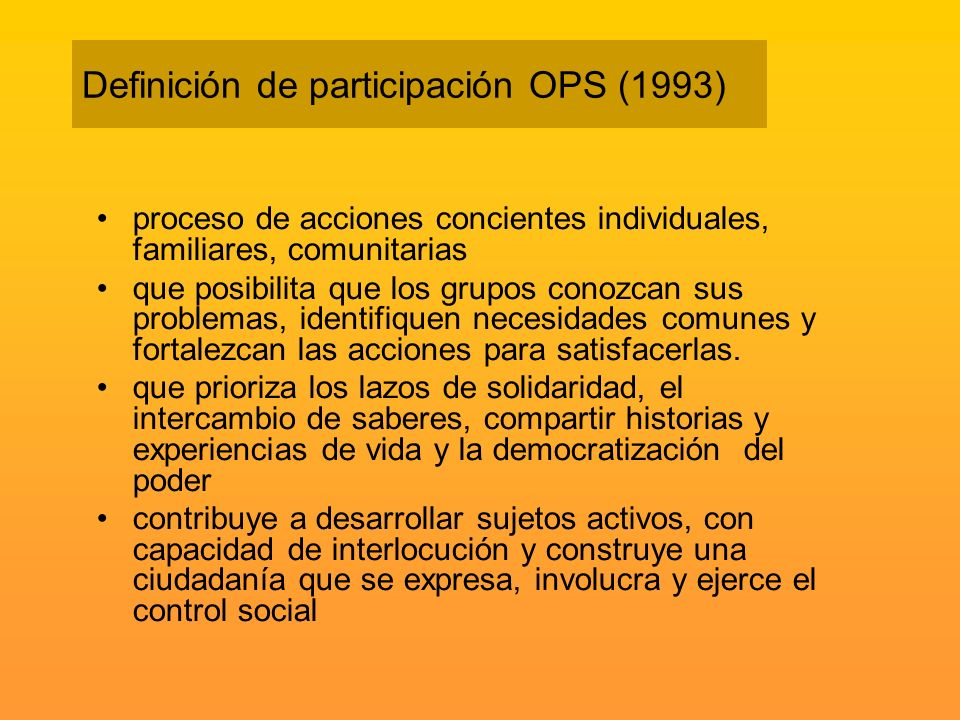 Definición de participación OPS (1993)