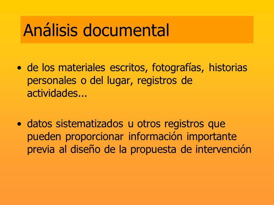 Análisis documental de los materiales escritos, fotografías, historias personales o del lugar, registros de actividades...