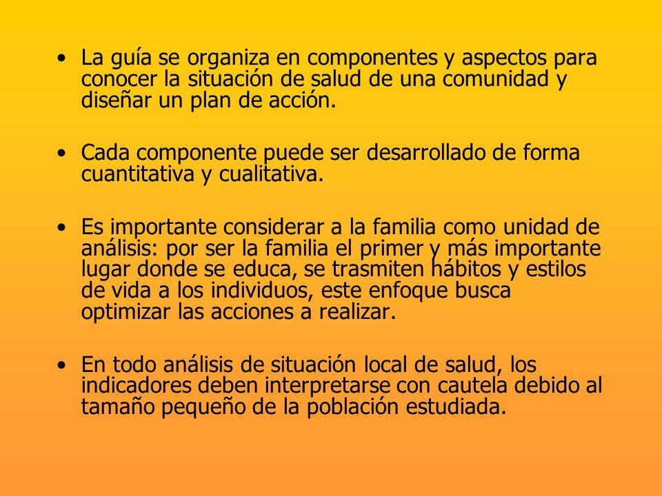 La guía se organiza en componentes y aspectos para conocer la situación de salud de una comunidad y diseñar un plan de acción.