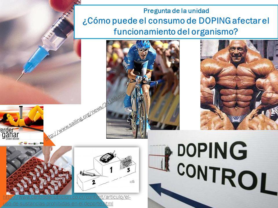 Pregunta de la unidad ¿Cómo puede el consumo de DOPING afectar el funcionamiento del organismo http://www.sailing.org/news/24159.php.