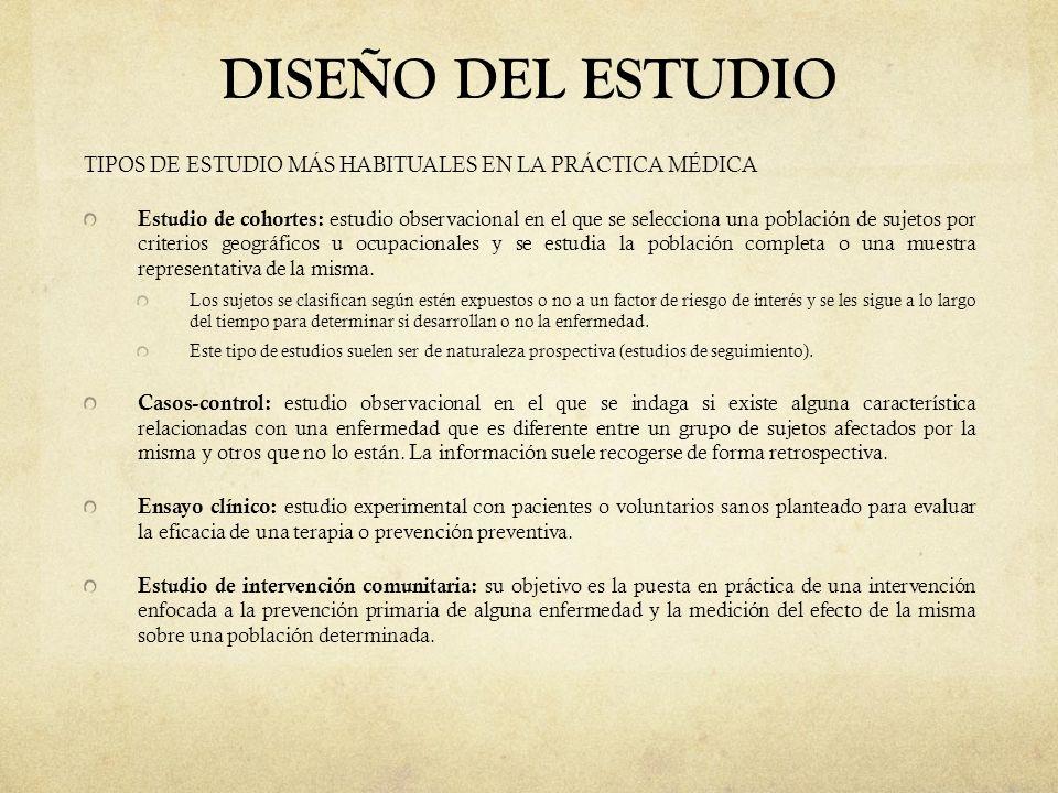 DISEÑO DEL ESTUDIO TIPOS DE ESTUDIO MÁS HABITUALES EN LA PRÁCTICA MÉDICA.