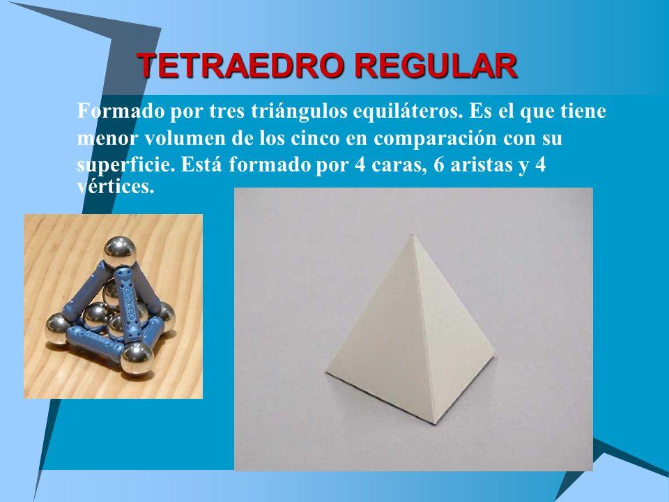 TETRAEDRO REGULAR Formado por tres triángulos equiláteros. Es el que tiene. menor volumen de los cinco en comparación con su.
