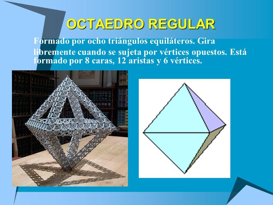 OCTAEDRO REGULAR Formado por ocho triángulos equiláteros. Gira