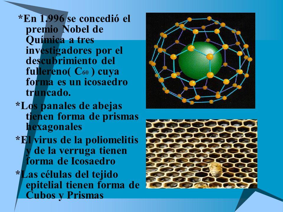 *En 1.996 se concedió el premio Nobel de Química a tres investigadores por el descubrimiento del fullereno( C60 ) cuya forma es un icosaedro truncado.