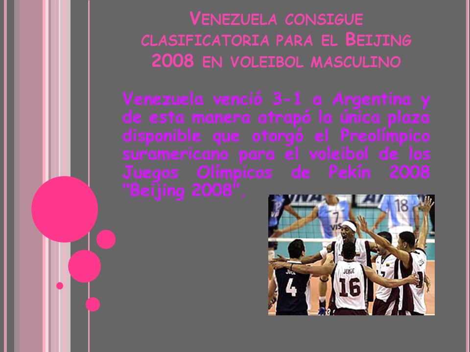 Venezuela consigue clasificatoria para el Beijing 2008 en voleibol masculino