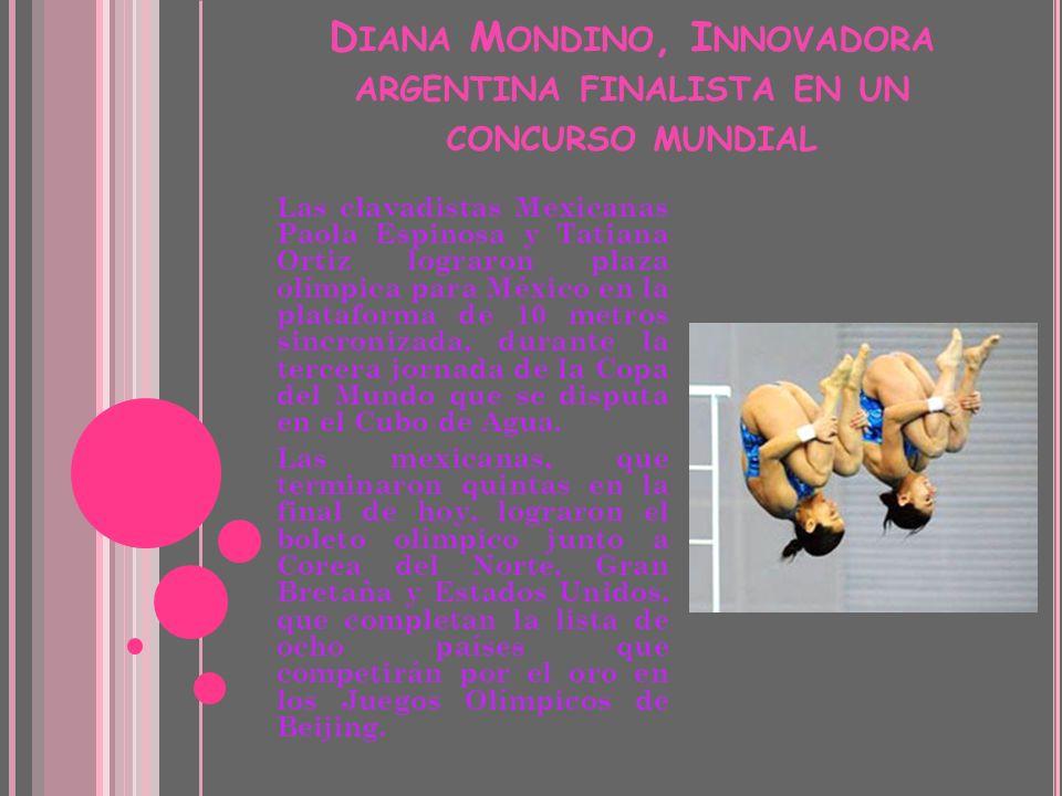 Diana Mondino, Innovadora argentina finalista en un concurso mundial