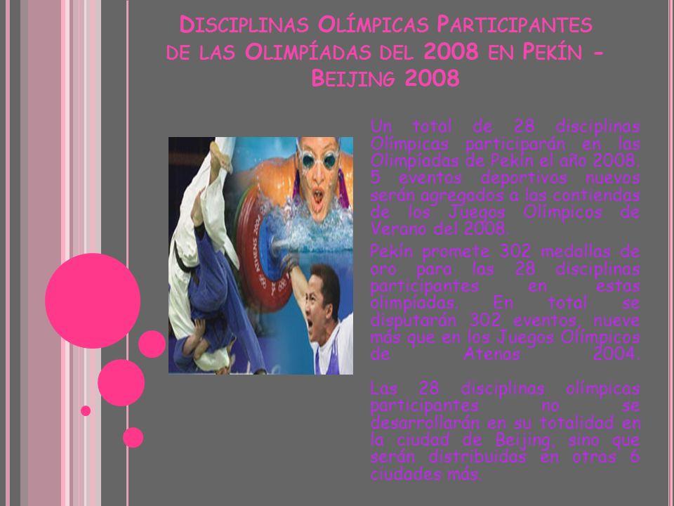 Disciplinas Olímpicas Participantes de las Olimpíadas del 2008 en Pekín - Beijing 2008