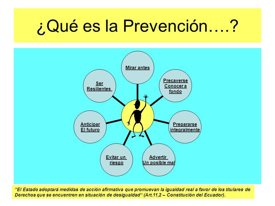 ¿Qué es la Prevención…. El Estado adoptará medidas de acción afirmativa que promuevan la igualdad real a favor de los titulares de.