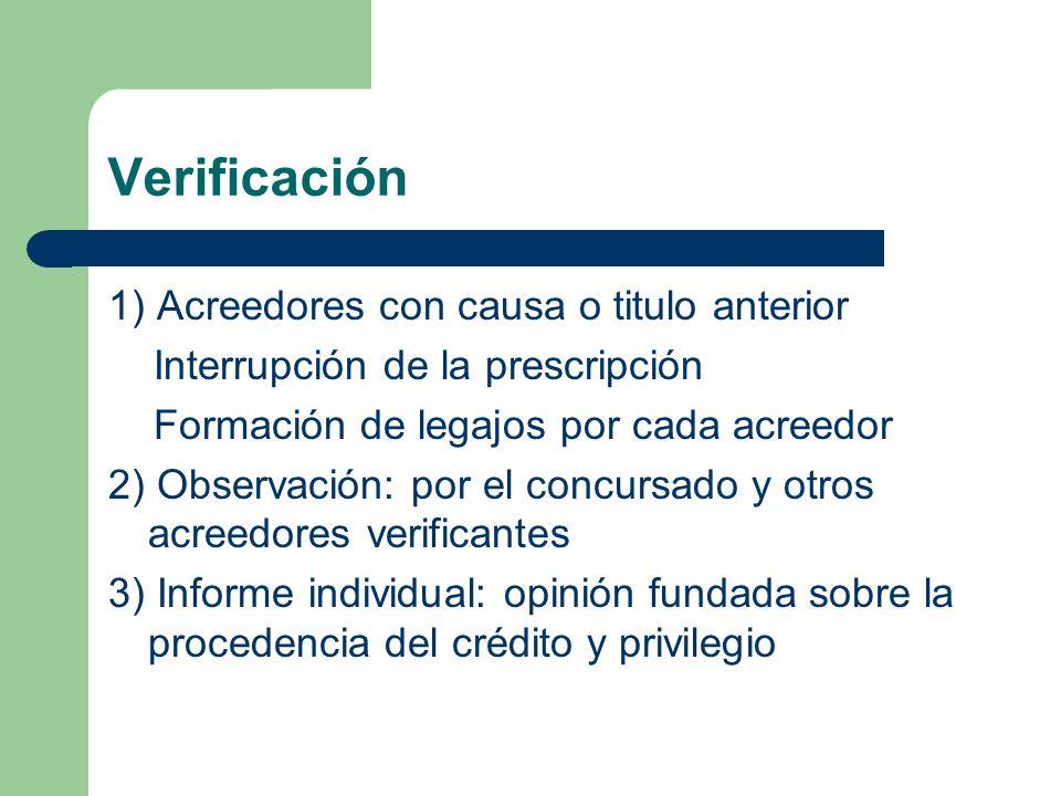 Verificación 1) Acreedores con causa o titulo anterior
