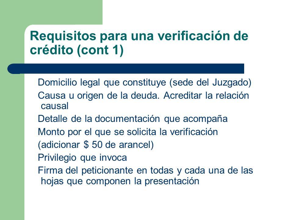 Requisitos para una verificación de crédito (cont 1)