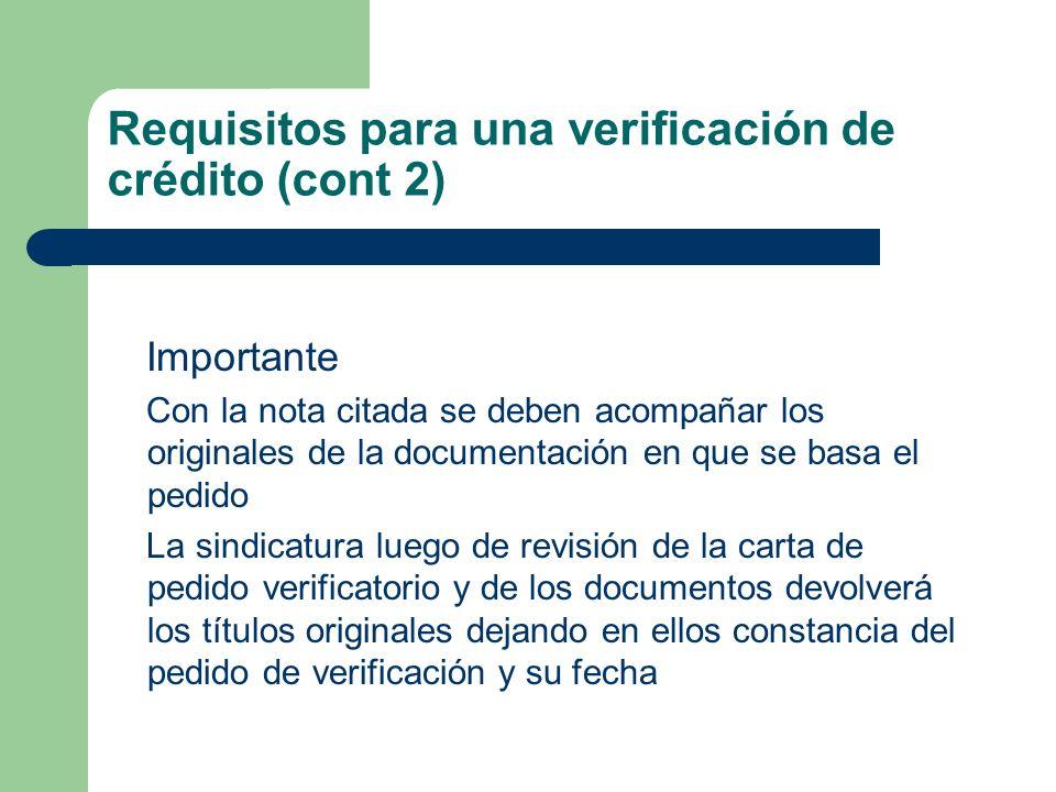 Requisitos para una verificación de crédito (cont 2)