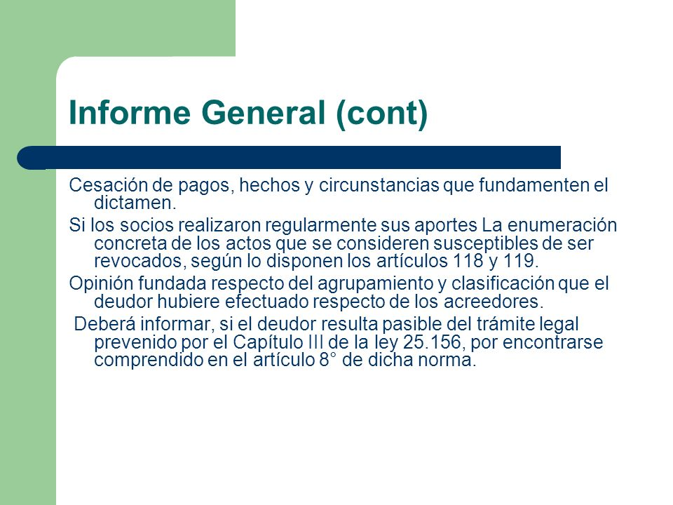 Informe General (cont)