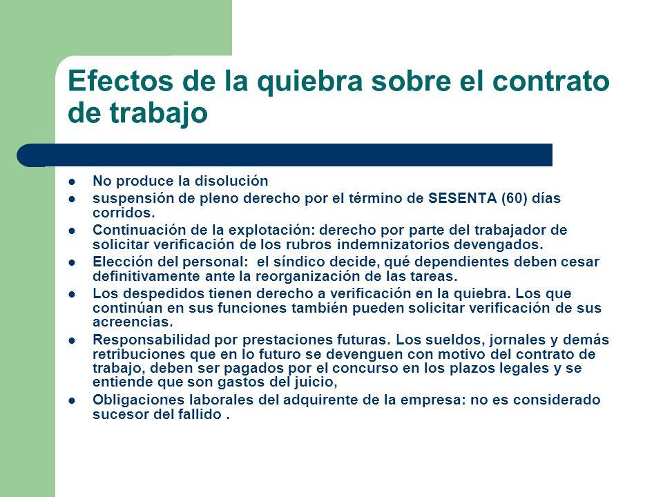Efectos de la quiebra sobre el contrato de trabajo