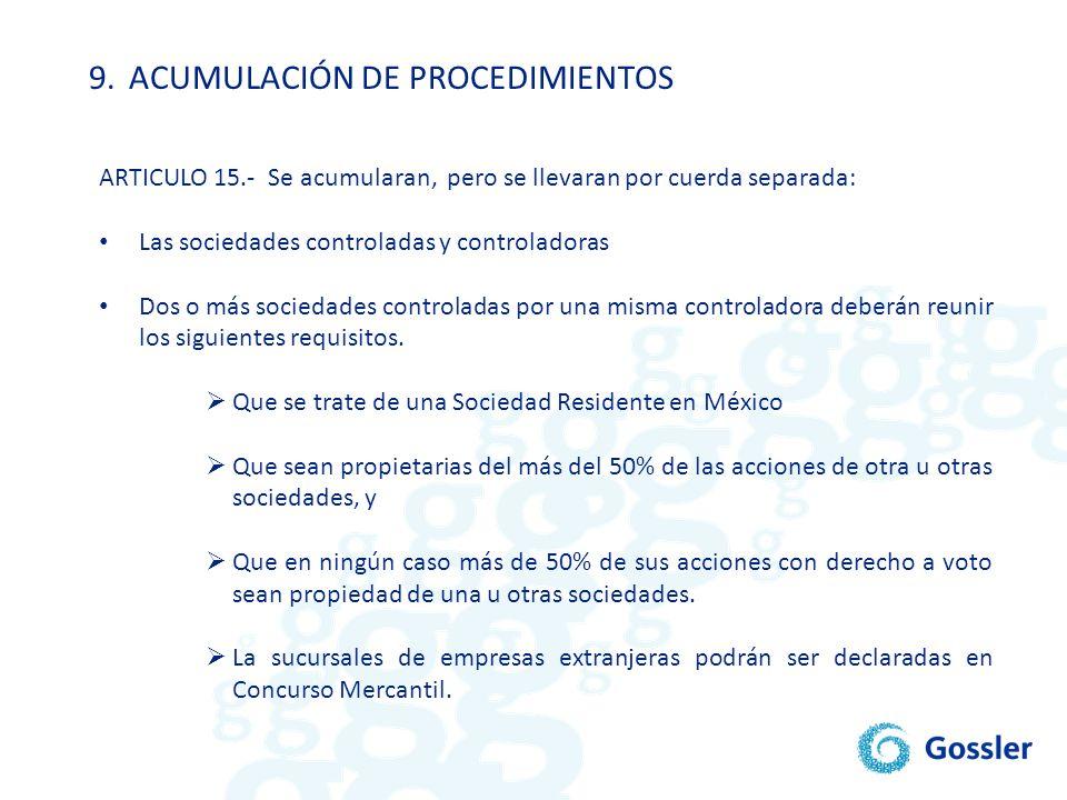 9. ACUMULACIÓN DE PROCEDIMIENTOS