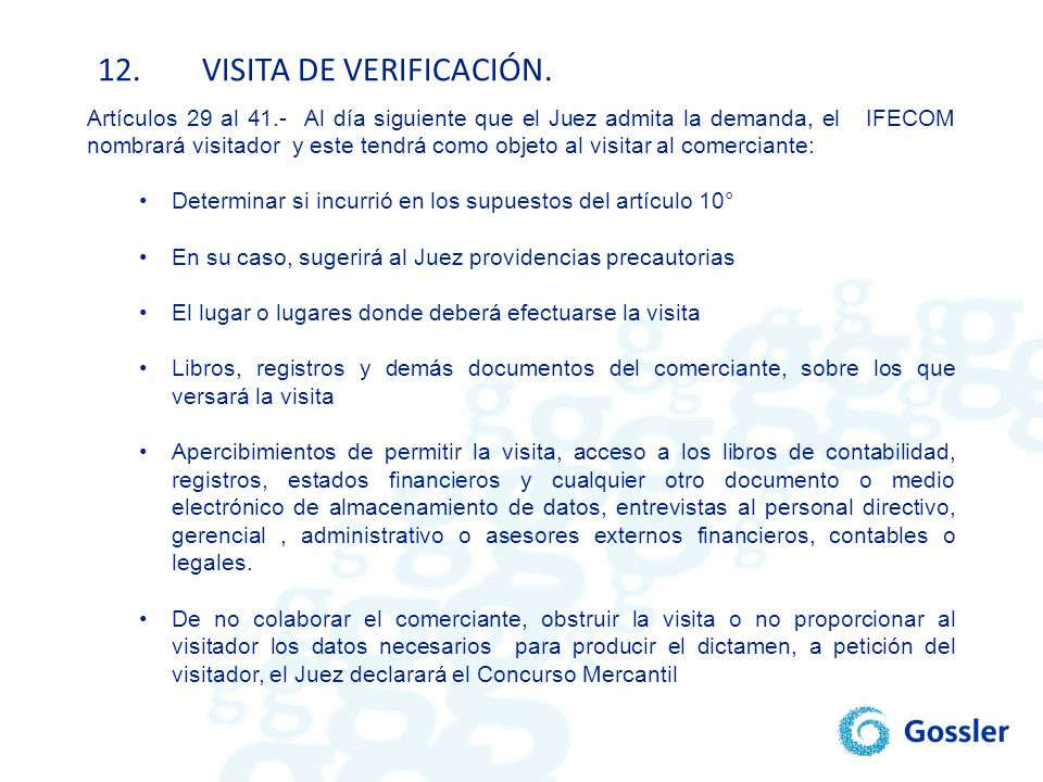 12. VISITA DE VERIFICACIÓN.