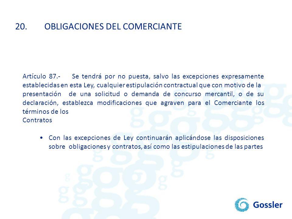 20. OBLIGACIONES DEL COMERCIANTE
