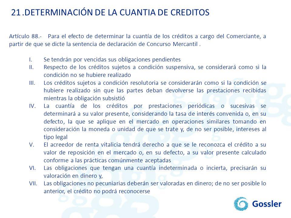.DETERMINACIÓN DE LA CUANTIA DE CREDITOS