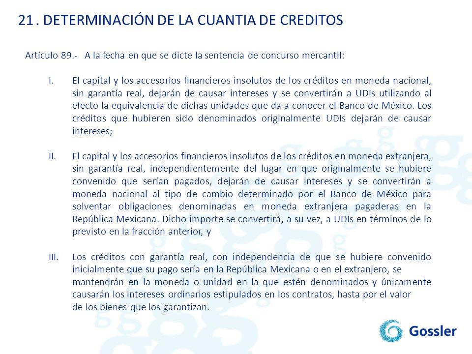 . DETERMINACIÓN DE LA CUANTIA DE CREDITOS