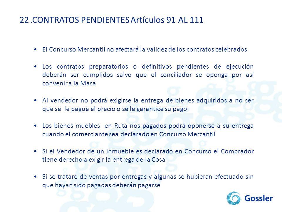 .CONTRATOS PENDIENTES Artículos 91 AL 111