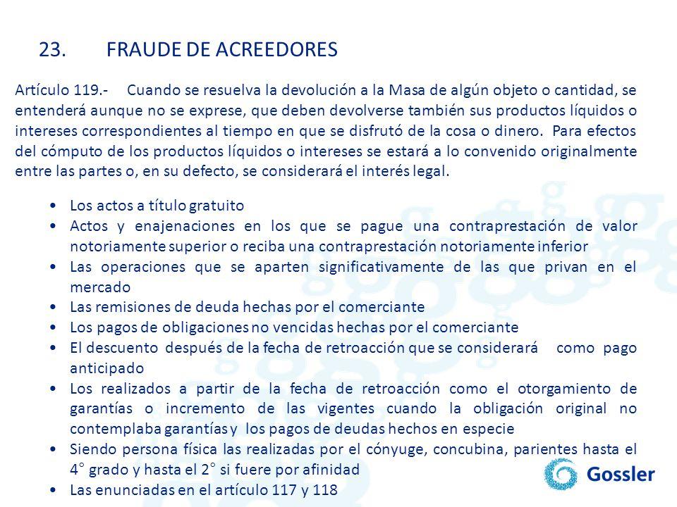23. FRAUDE DE ACREEDORES