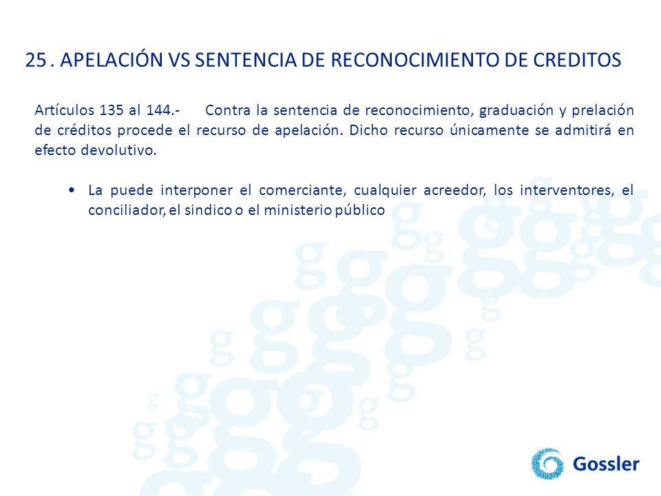 . APELACIÓN VS SENTENCIA DE RECONOCIMIENTO DE CREDITOS