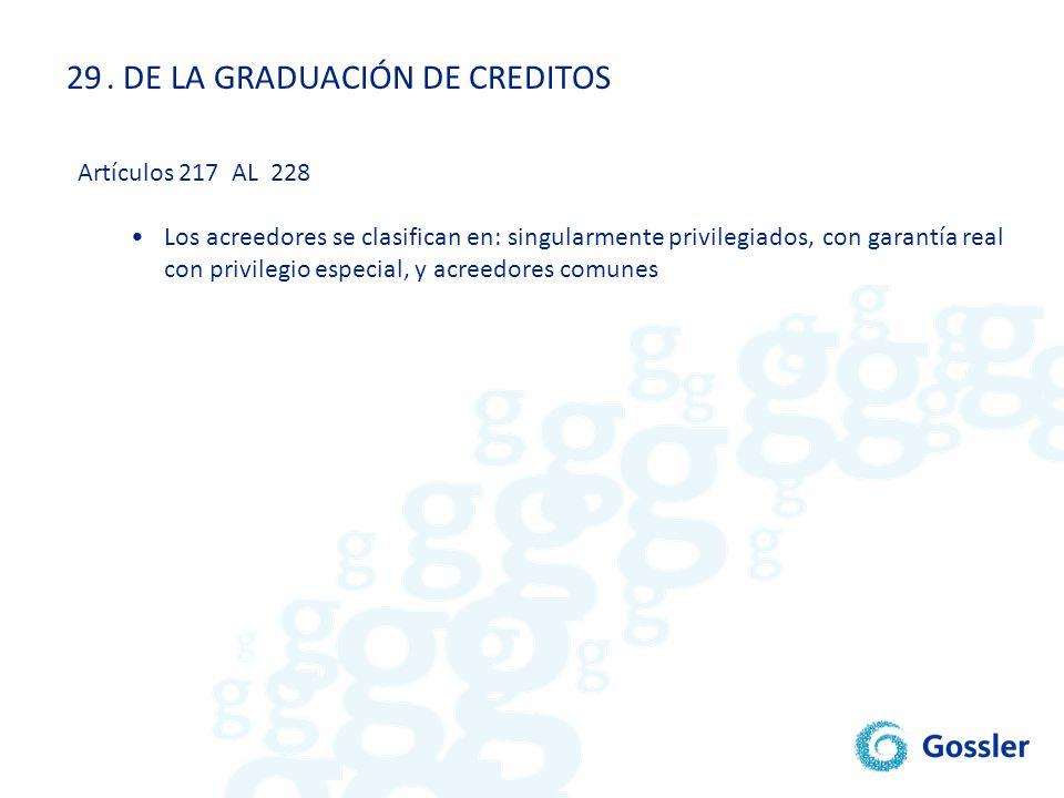 . DE LA GRADUACIÓN DE CREDITOS
