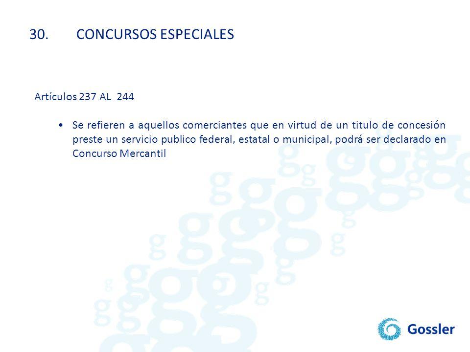 30. CONCURSOS ESPECIALES Artículos 237 AL 244