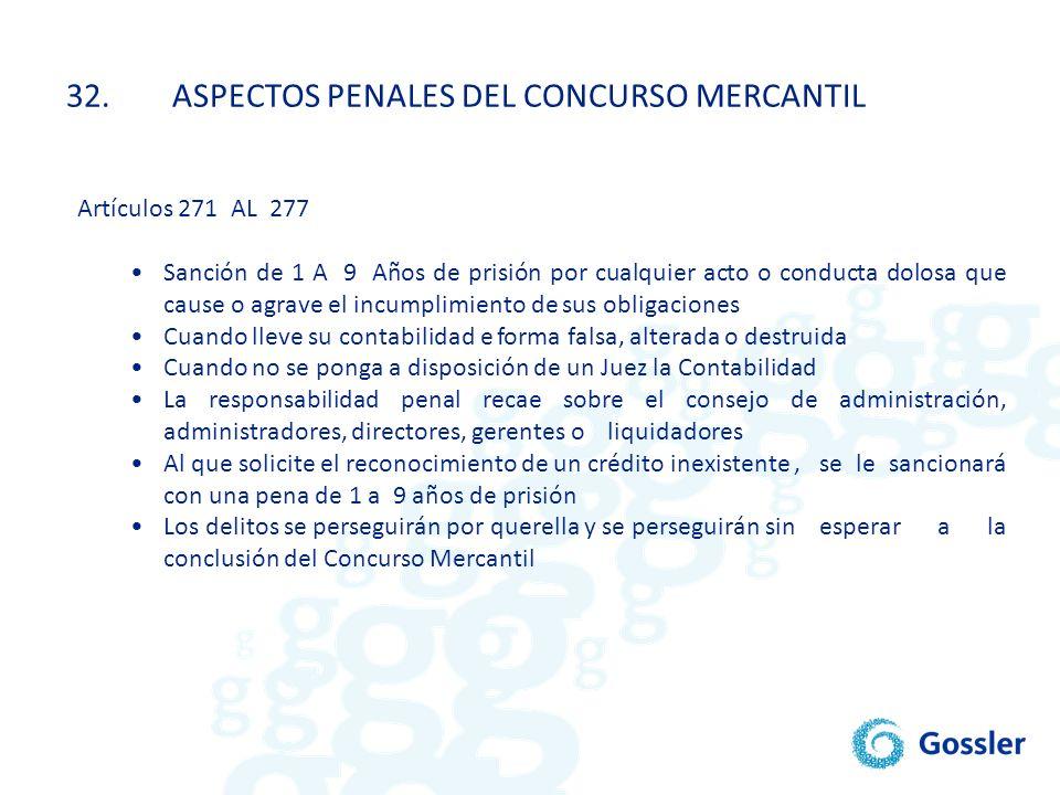 32. ASPECTOS PENALES DEL CONCURSO MERCANTIL